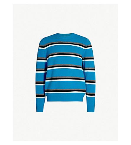 PAUL SMITH 条纹圆领修身版型羊毛毛衣(蓝色)
