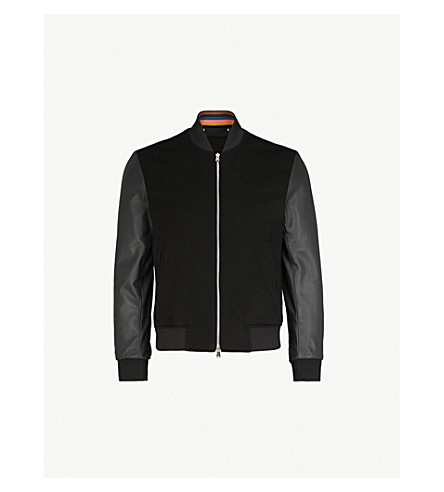 PAUL SMITH Contrast sleeves cashmere and leather bomber jacket (Black