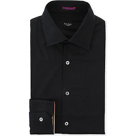 PAUL SMITH LONDON Contrast–cuff slim fit single cuff shirt (Black