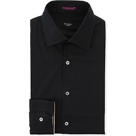 PAUL SMITH LONDON Contrast–cuff slim fit single cuff shirt (Black