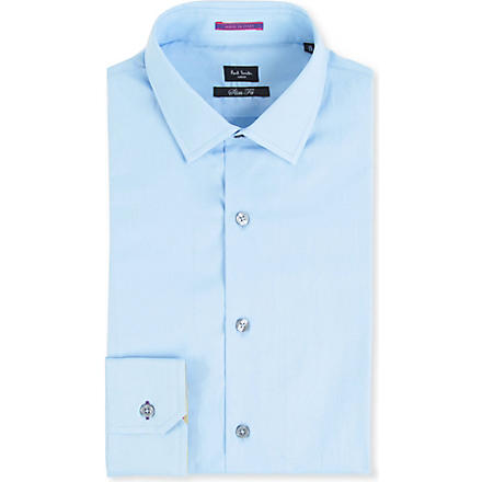 PAUL SMITH LONDON Contrast–cuff slim fit single cuff shirt (Sky
