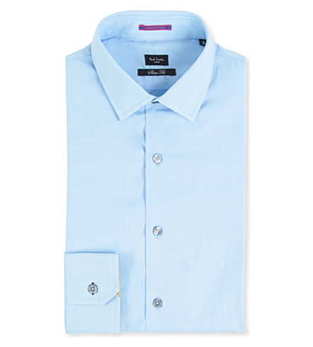 PAUL SMITH Contrast-cuff slim-fit cotton shirt (Sky