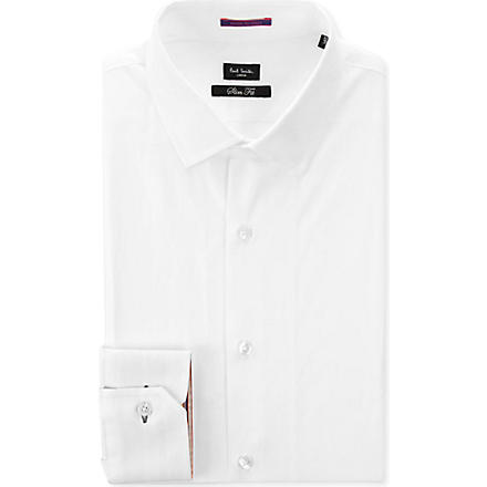 PAUL SMITH LONDON Contrast–cuff slim fit single cuff shirt (White