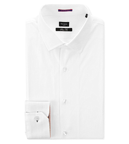 PAUL SMITH LONDON Contrast-cuff slim-fit cotton shirt (White