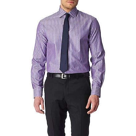 PAUL SMITH LONDON Striped slim fit single cuff shirt (Lilac