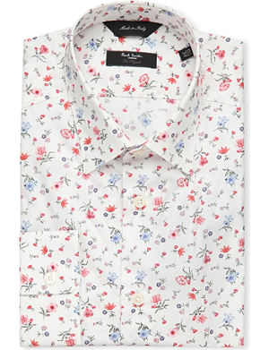 PAUL SMITH LONDON Flower-print single-cuff stretch-cotton shirt