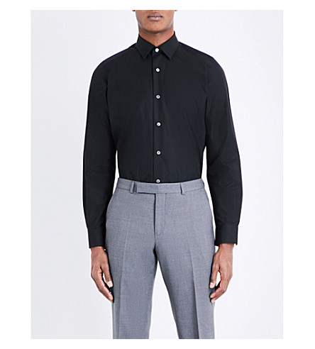 PAUL SMITH Striped-cuff cotton shirt (Black