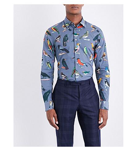 PAUL SMITH Tailored-fit bird-print cotton shirt (Grey