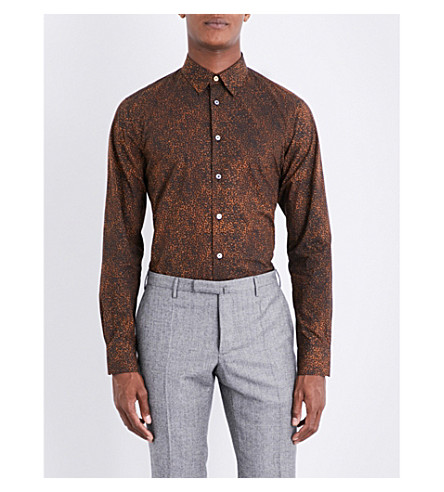 PAUL SMITH Tailored-fit leopard-print cotton shirt (Brown