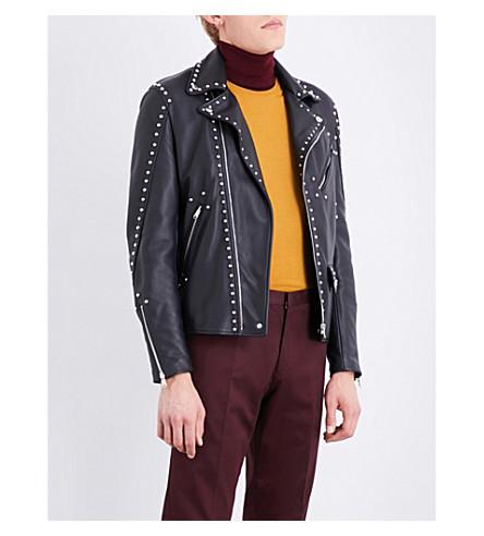 PAUL SMITH Studded leather jacket (Black
