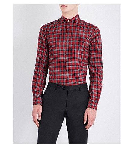 PAUL SMITH Checked soho-fit brushed cotton shirt (Red