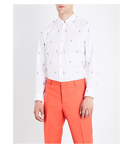 PAUL SMITH Monkey-pattern slim-fit cotton-twill shirt (Multi
