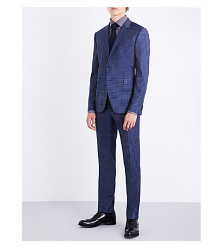 PAUL SMITH Checked single-breasted Kensington-fit wool suit (Blue