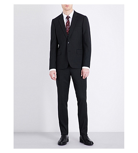 PAUL SMITH Soho-fit wool travel suit (Charcoal+grey