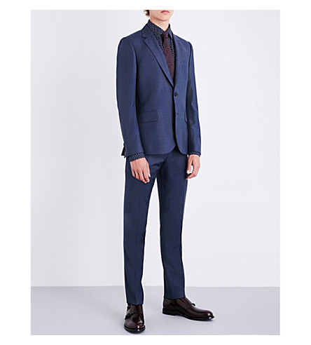 PAUL SMITH Checked soho-fit wool suit (Airforce
