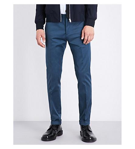 PAUL SMITH Slim-fit stretch-cotton pants (Blue