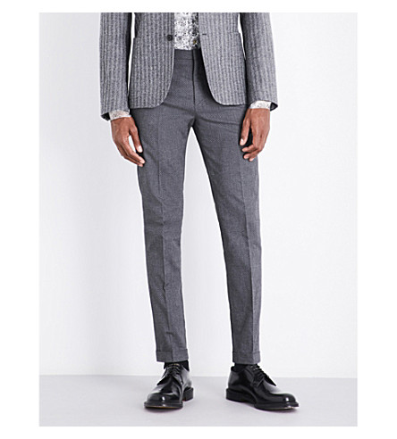 PAUL SMITH Diamond-patterned slim-fit stretch-cotton trousers (Grey