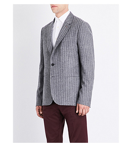 PAUL SMITH Soho-fit herringbone striped wool jacket (Grey