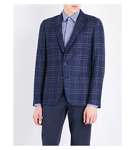 PAUL SMITH Checked Kensington-fit wool and silk-blend jacket (Blue