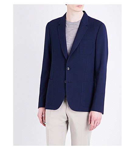 PAUL SMITH Textured Soho-fit wool jacket (Blue