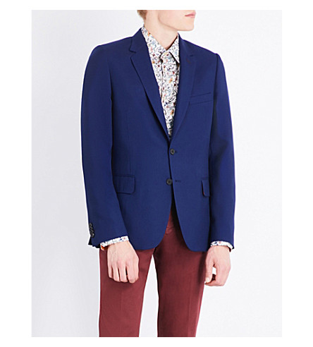PAUL SMITH Hopsack woven Soho-fit wool jacket (Bright+blue