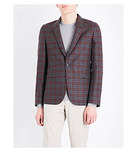 PAUL SMITH Checked Soho-fit wool jacket (Burgundy