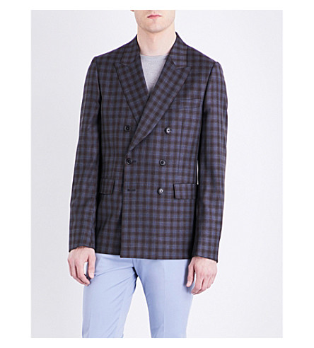PAUL SMITH Double-check Kensington-fit extra-fine wool jacket (Blue