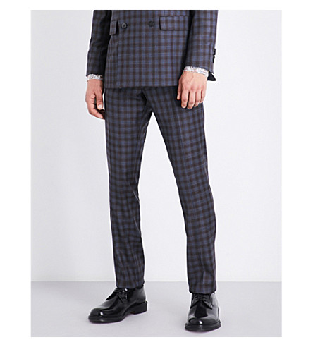 PAUL SMITH Kensington-fit slim-fit skinny checked wool trousers (Blue