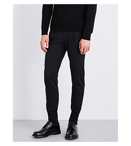 PAUL SMITH Zipped cuffs slim-fit stretch-wool trousers (Black