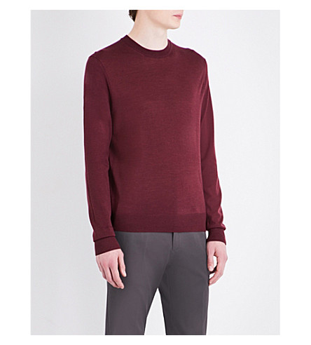 PAUL SMITH Crew neck merino wool jumper (Burgundy