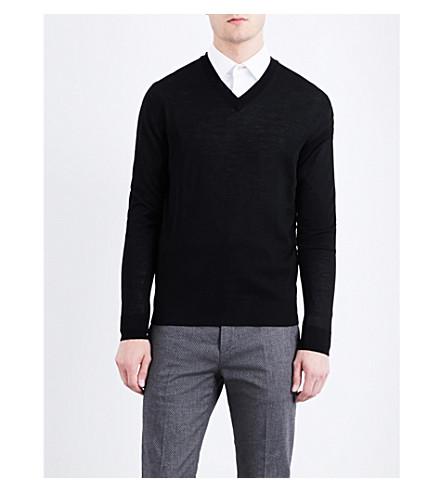 PAUL SMITH V-neck merino-wool jumper (Black