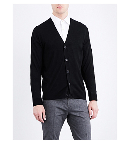 PAUL SMITH V-shaped merino-wool cardigan (Black