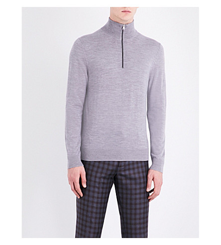 PAUL SMITH Half-zip knitted wool jumper (Grey