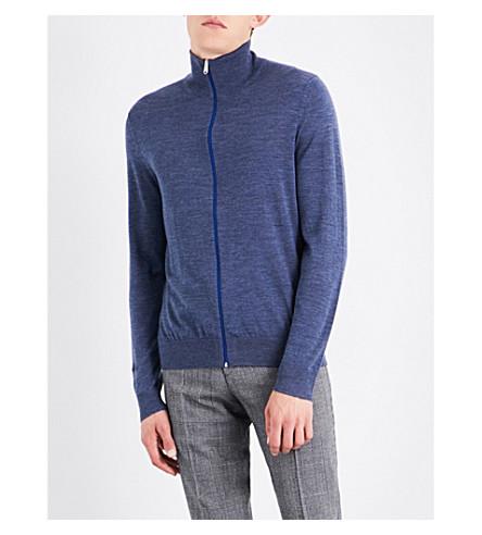 PAUL SMITH Funnel neck merino wool caridgan (Blue