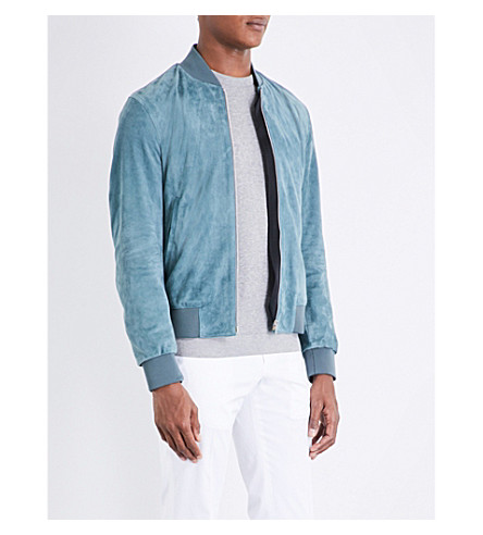 PAUL SMITH Suede bomber jacket (Pale+blue