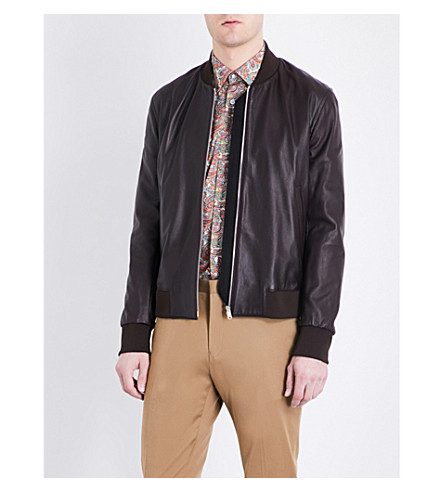 PAUL SMITH Leather bomber jacket (Chocolate