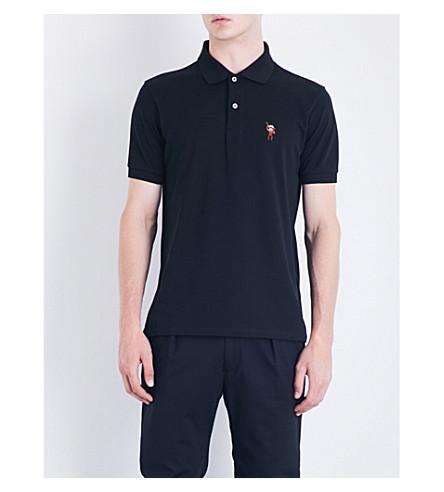 PAUL SMITH Embroidered logo-detail cotton-piqué polo shirt (Black