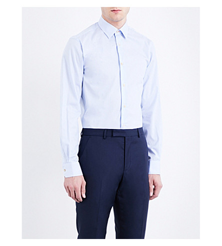 PAUL SMITH Tailored-fit cotton shirt (Pale+blue