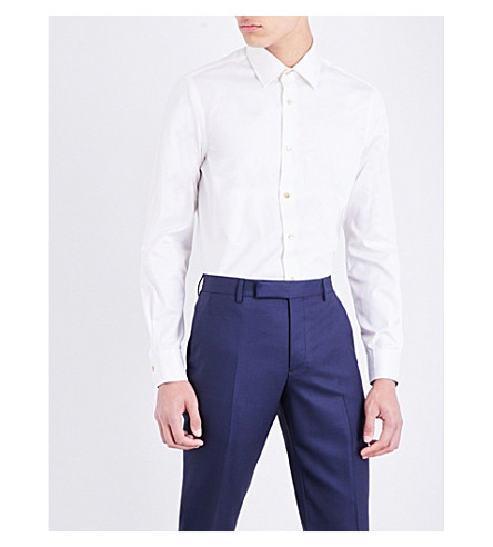PAUL SMITH Micro diamond Soho-fit cotton-jacquard shirt (Cream