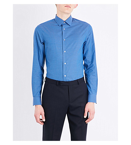 PAUL SMITH Gingham-patterned regular-fit cotton shirt (Blue