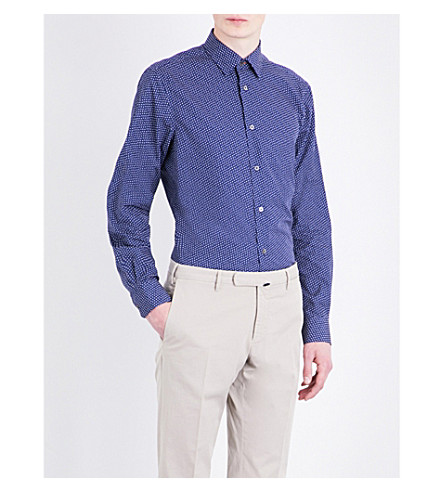 PAUL SMITH Micro-print Soho-fit cotton shirt (Navy