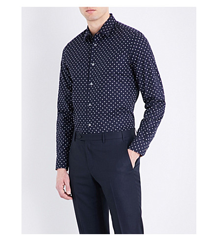 PAUL SMITH Rabbit-print Soho-fit cotton shirt (Black/white