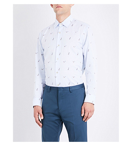 PAUL SMITH Monkey-embroidered soho-fit cotton-twill shirt (Pale+blue