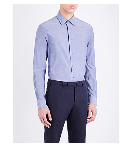 PAUL SMITH Soho-fit cotton-chambray shirt (Grey