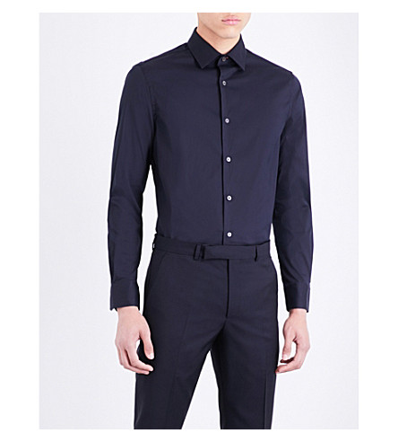 PAUL SMITH Slim-fit stretch-cotton shirt (Navy