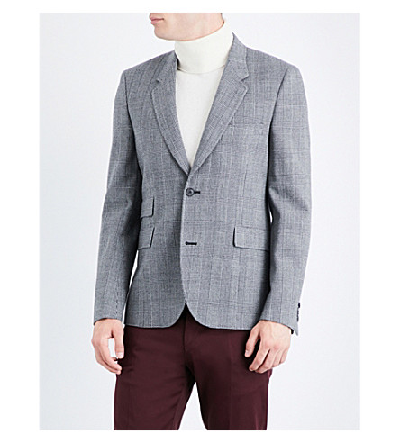 PAUL SMITH Check tailored-fit wool-blend jacket (Grey