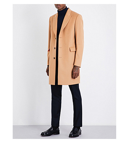 PAUL SMITH Peak lapel wool and cashmere-blend coat (Camel