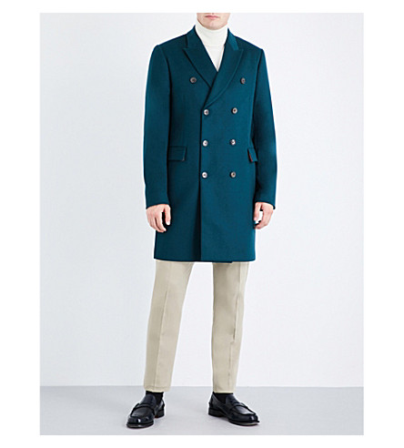 PAUL SMITH Double-breasted wool and cashmere-blend coat (Emerald