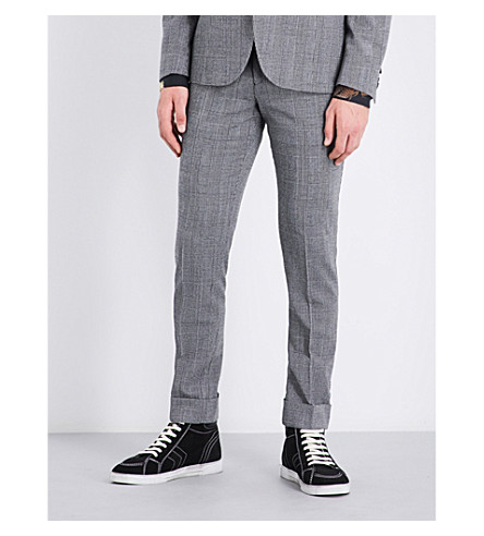 PAUL SMITH Prince of Wales check slim-fit tapered wool trousers (Grey
