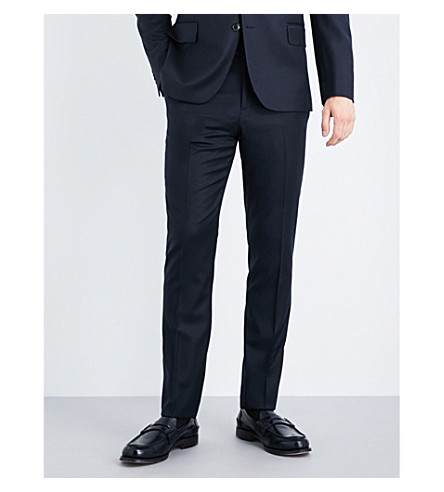 PAUL SMITH Soho-fit wool and cashmere-blend trousers (Navy